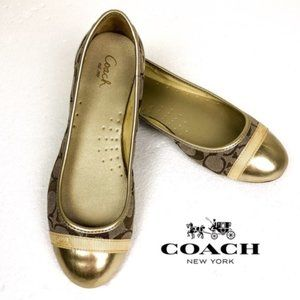 Coach Gold Signature C Cap Toe Cecile Ballet Flat